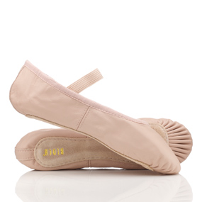 Pink leather ballet shoes with pre-sewn elastic, by Bloch