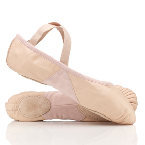 Pink leather split sole ballet shoes, by Bloch
