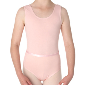 Pink cotton lycra sleeveless leotard with belt