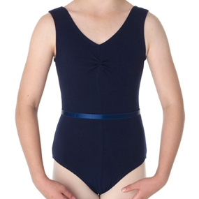 Navy cotton lycra sleeveless ruched leotard with belt