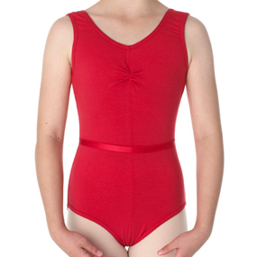 Red cotton lycra sleeveless ruched leotard with belt