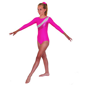 Tappers & Pointers GYM 19 Long-Sleeved leotard in Lipstick/Silver