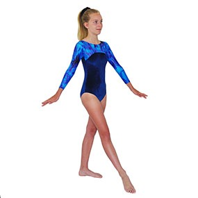 Tappers & Pointers GYM 23 Long-Sleeved leotard in Navy/Silver