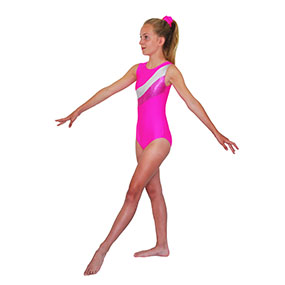 Tappers & Pointers GYM 18 Sleeveless Leotard in Lipstick/Silver