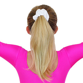 White nylon/lycra scrunchie