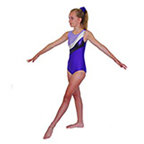 Tappers & Pointers GYM 18 Sleeveless Leotard in Purple/Lilac/Silver