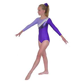 Tappers & Pointers GYM 19 Long-Sleeved leotard in Purple/Lilac/Silver